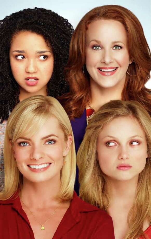 "Nikki (Katie Finneran, top right) and Annie (Jaime Pressly, bottom left) are single moms in ""I Hate My Teenage Daughter."" The daughters are played by Aisha Dee (left) and Kristi Lauren. Photo: Fox"
