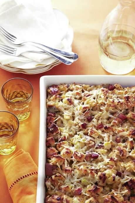 Good Housekeeping recipe for Herb and Apple Stuffing Bread Pudding. Photo: Con Poulos