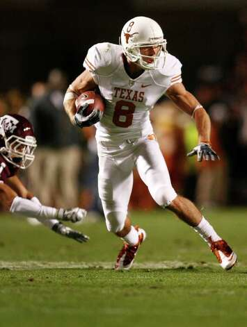 COLLEGE STATION, TX - NOVEMBER 26: Wide receiver Jordan Shipley #8 of the Texas Longhorns runs for a gain after making a reception against the Texas A&M Aggies in the first half at Kyle Field on November 26, 2009 in College Station, Texas. The Longhorns defeated the Aggies 49-39. (Photo by Aaron M. Sprecher/Getty Images) *** Local Caption *** Jordan Shipley Photo: Aaron M. Sprecher, Getty Images / 2009 Getty Images