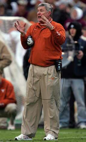 COLLEGE STATION, TX - NOVEMBER 23:  Head coach Mack Brown of the Texas Longhorns during play against the Texas A&M Aggies at Kyle Field on November 23, 2007 in College Station, Texas. Photo: Ronald Martinez, Getty Images / 2007 Getty Images