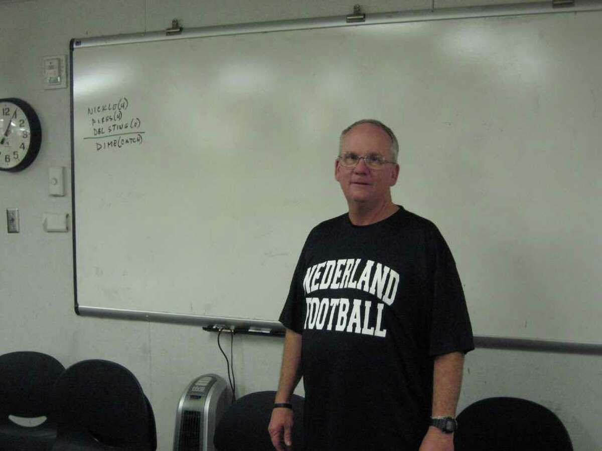 Delbert Spell has been the defensive coordinator at Nederland the last 19 seasons and is the architect behind the team's dominating defense. Spell is a Nederland graduate who has coached at the school his entire career. His son Bryan is on the staff and his grandson Tyler plays on the junior varsity team.