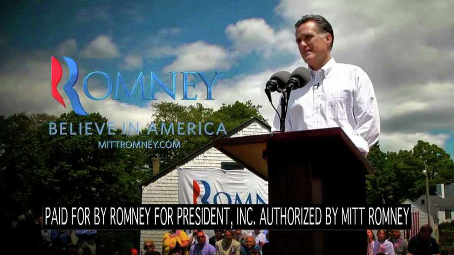 "This video frame grab provided by the Mitt Romney presidential campaign shows a scene from an ad entitled: ""Believe in America"" that is running in New Hampshire. (AP Photo/Romney Presidential Campaign) / Romney Presidential Campaign"