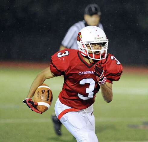 Joel Arroyo, # 3 of Greenwich High School during football game between Bassick High School of Bridgeport and Greenwich High School at Greenwich, Friday night, Sept. 23, 2011. Photo: Bob Luckey / Greenwich Time