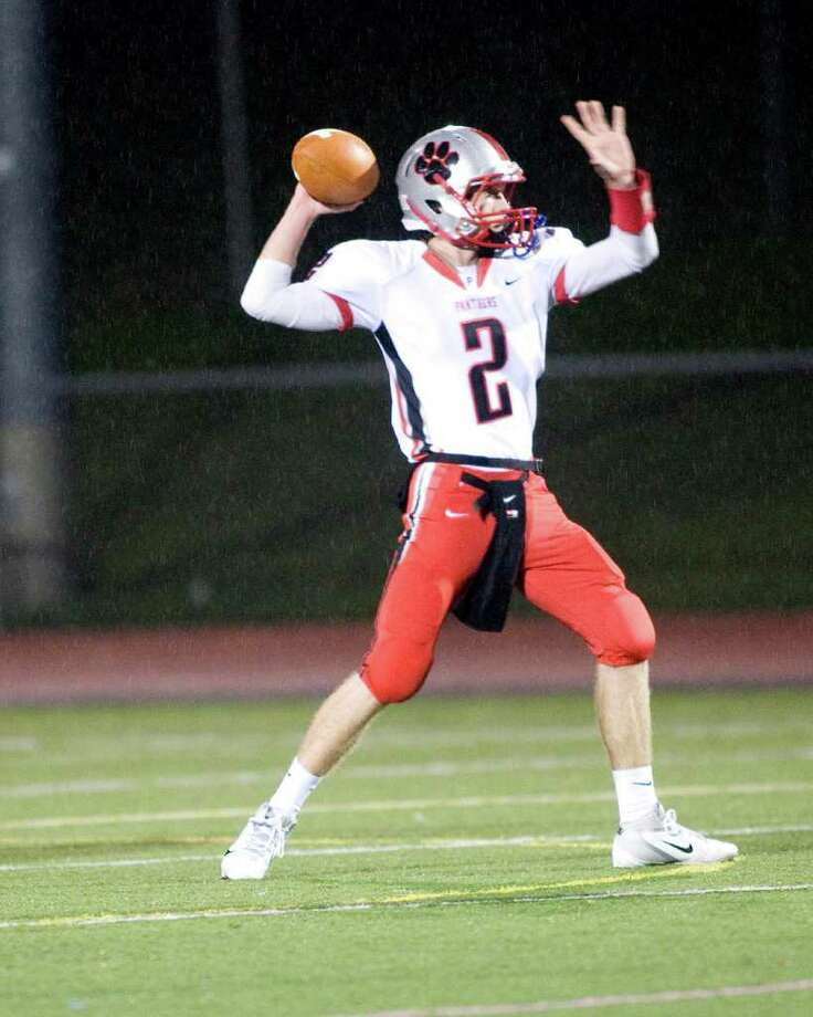 Pomperaug quarterback Eric Beatty. Photo: Barry Horn / The News-Times Freelance