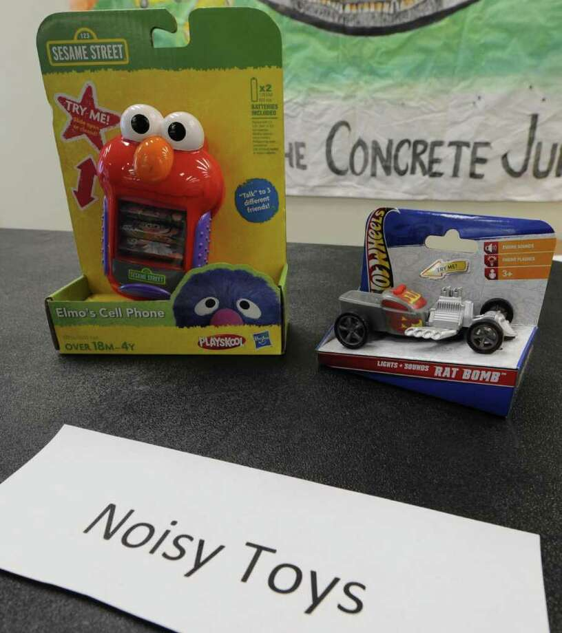 Noisy Toys are used as examples as the New York Public Interest Resource Group student activists who attend the State University of New York?s University at Albany mark Tuesday?s release of the U.S. Public Interest Research Group?s 26th annual ?Trouble in Toyland? report by discussing potential hazards posed by toys, including toys that students remain on sale in local stores, and publicizing online tools for consumers.    (Skip Dickstein/Times Union) Photo: Skip Dickstein / 2011