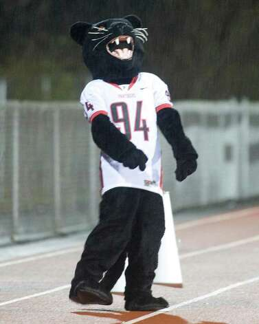 The Panther was on hand to cheer on Pomperaug during its SWC football game against Oxford Tuesday night, Nov. 22, 2011, at Pomperaug High School in Southbury. Photo: Barry Horn