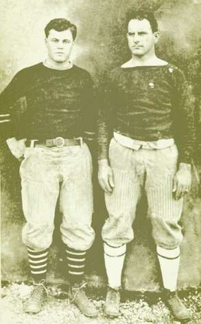 Joe Utay (left), who had played football at A&M under coach Charles Moran (right), helped revive the rivalry series with UT in 1914. Photo: PHOTO COURTESY CUSHING MEMORIAL LIBRARY/TEXAS A&M