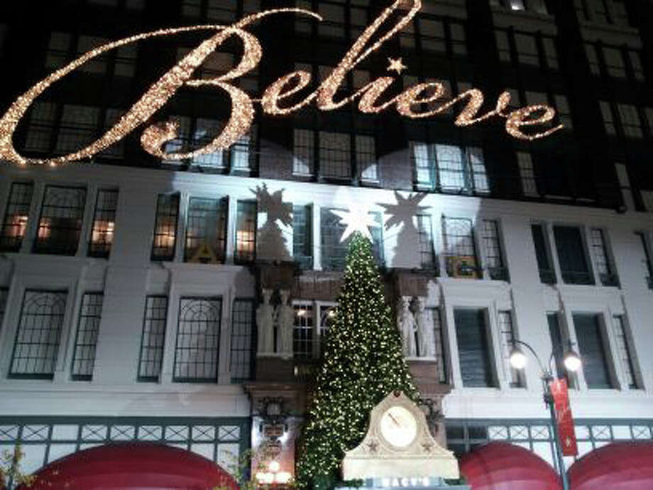 Macy's Herald Square was all decked out Monday night as rehearsals started for the annual Thanksgiving Day Parade. Photo by Jeremy Leonard Photo: Contributed Photo