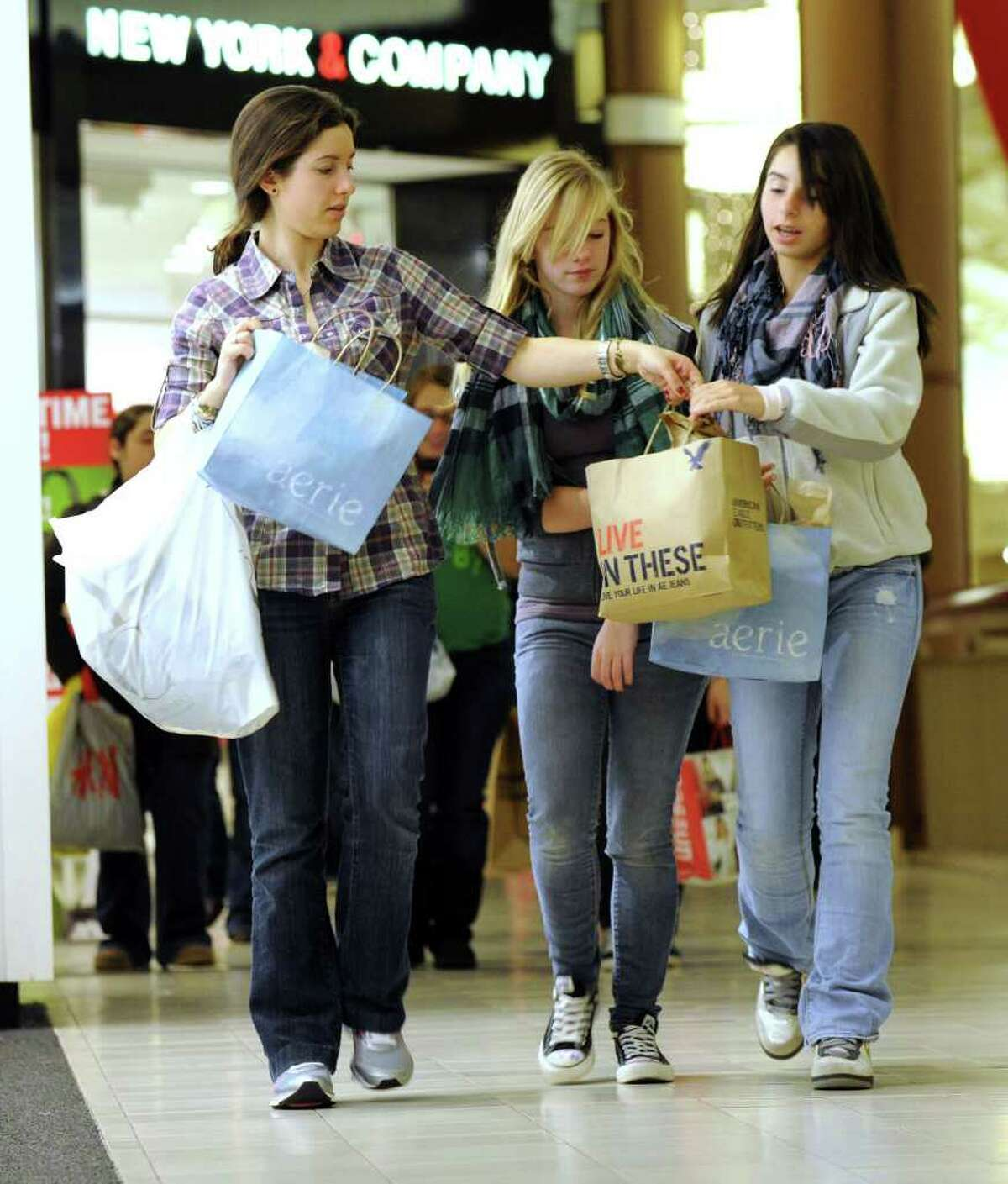 Shoppers arrived early to the Danbury Fair Mall for Black Friday bargain shopping, Nov. 26, 2010.