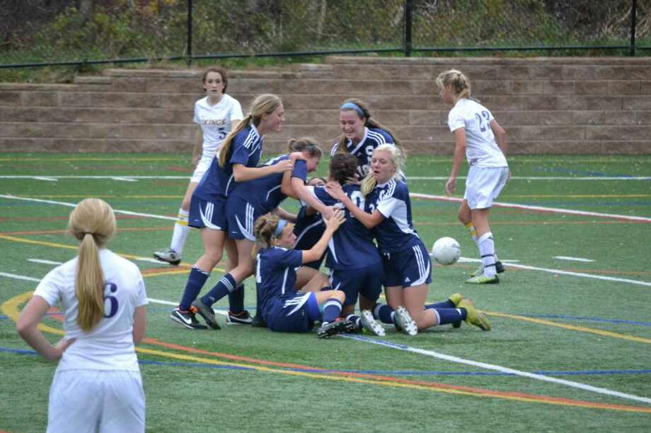 Staples celebrates after scoring the game-winner against Westhill in the Class LL quarterfinals. The Lady Wreckers did a lot of celebrating during their Class LL playoff run, which ended with a 2-1 (3-1) loss on penalty kicks to top-seeded Glastonbury in the semifinals Saturday. Photo: Judi Lake / Contributed Photo
