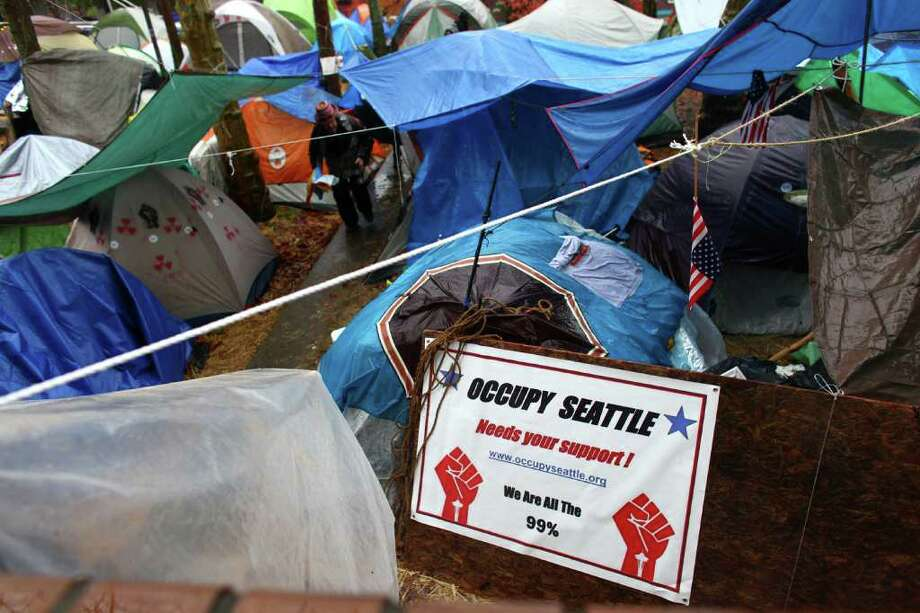 Tents are shown on Wednesday, November 23, 2010 at the Occupy Seattle encampment at Seattle Central Community College. Members of the camp were working to clean trash from the camp as a board of community college trustees were voting to evict Occupy Seattle from Seattle Central Community College campus. Photo: JOSHUA TRUJILLO / SEATTLEPI.COM