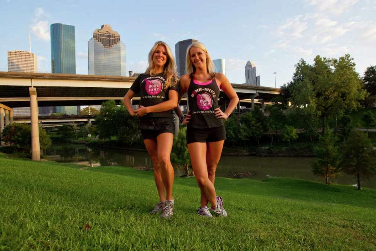 Melissa Phillip : STAFF PUSHING YOU INTO SHAPE: Cari Shoemate, a personal trainer, left, and Carrie Barnhart, a former Rockets Power Dancers captain, lead the Bombshell Bootcamp classes on the banks of Buffalo Bayou.