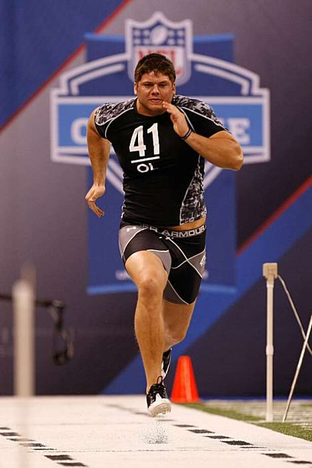 INDIANAPOLIS, IN - FEBRUARY 27: Offensive lineman Jared Veldheer of Hillsdale runs the 40 yard dash during the NFL Scouting Combine presented by Under Armour at Lucas Oil Stadium on February 27, 2010 in Indianapolis, Indiana. (Photo by Scott Boehm/Getty Images)  Ran on: 04-24-2010 Jared Veldheer hails from Division II Hillsdale College in Michigan. Ran on: 04-24-2010 Jared Veldheer hails from Division II Hillsdale College in Michigan.  Ran on: 04-24-2010 Jared Veldheer hails from Division II Hillsdale College in Michigan.  Ran on: 08-07-2010 Offensive lineman Jared Veldheer is a unique species. Ran on: 08-07-2010 Offensive lineman Jared Veldheer is a unique species. Photo: Scott Boehm, Getty Images