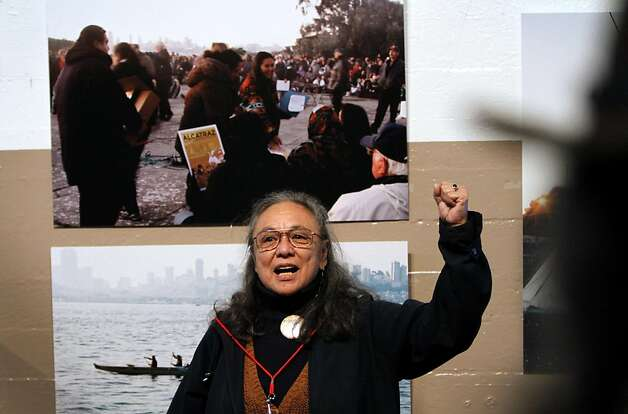 "Betty Parent speaks at the grand opening of ""We Are Still Here,"" a multi-media exhibit on the American Indian occupation of Alcatraz Island, on Alcatraz in San Francisco, Calif., Sunday, November 20, 2011. Photo: Sarah Rice, Special To The Chronicle"