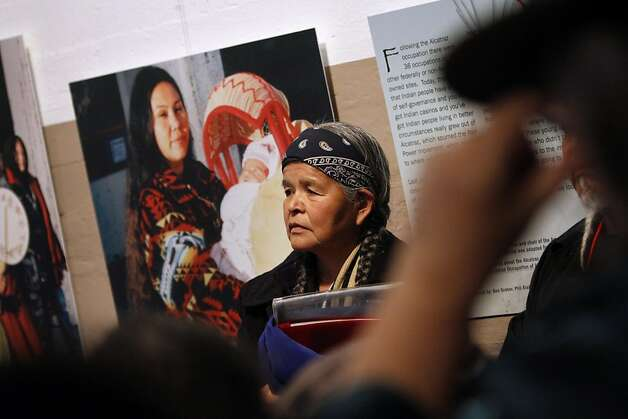 "Jean Whitehorse of New Mexico waits to speak at the grand opening of ""We Are Still Here,"" a multi-media exhibit on the occupation of Alcatraz Island, on Alcatraz in San Francisco, Calif., Sunday, November 20, 2011.  Whitehorse participated in the American Indian occupation of Alcatraz Island forty years ago. Photo: Sarah Rice, Special To The Chronicle"