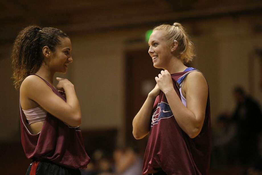 Stanford players Erica Payne and Taylor Greenfield joke around during a stoppage of play in a summer league game in San Francisco Calif.,  on July 9, 2011. Photo: Audrey Whitmeyer-Weathers, The Chronicle