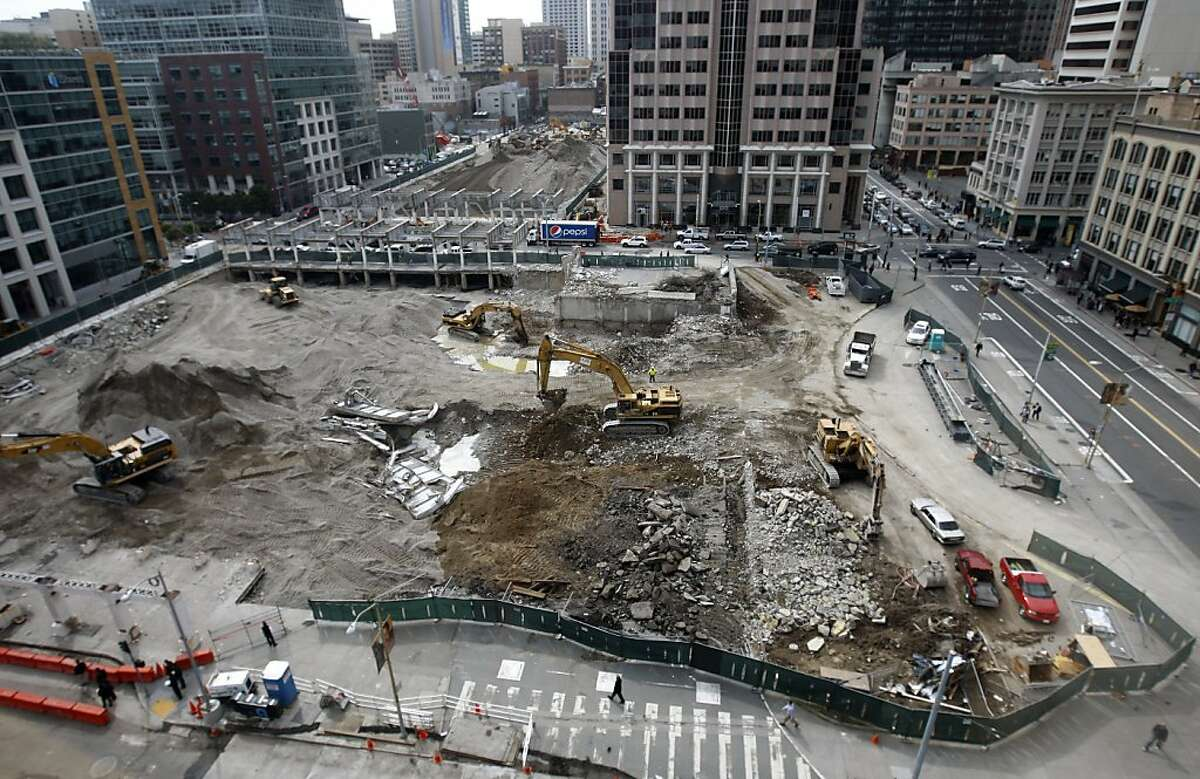 Demolition work continues to pave the way for the new Transbay Transit Terminal in San Francisco, Calif., on Wednesday, March 9, 2011. Officials will announce details of a new sculpture by artist Tim Hawkinson using rubble and debris from the original terminal.