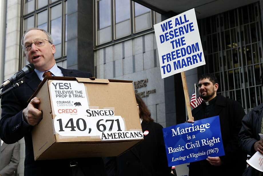 Rick Jacobs from the Courage Campaign talks about televising the hearing during a vigil being held on Monday, January 11, 2010 at the plaza of the Phillip Burton Building in San Francisco, Ca., before United States District Court proceedings challenging Proposition 8.    Ran on: 01-12-2010 Rick Jacobs of the Courage Campaign, which supports airing trial coverage on YouTube, rallies outside the federal courthouse. Photo: Liz Hafalia, The Chronicle