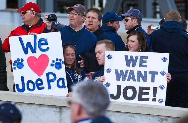 Penn State alumni and fans stand outside  Beaver Stadium before an NCAA college football game between Penn State and Nebraska Saturday, Nov. 12, 2011 in State College, Pa. Penn State is playing for the first time in decades without former head coach Joe Paterno, after he was fired in the wake of a child sex abuse scandal involving a former assistant coach. (AP Photo/The Wilmington News-Journal, Suchat Pederson)    Ran on: 11-20-2011 The fall of a coach whose program was linked with excellence and high morals has been tough to take at Penn State. Photo: Suchat Pederson, AP