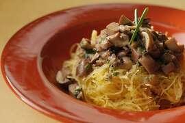 Spaghetti squash with creamy mushroom cognac as seen in San Francisco, California, on November 9, 2011. Food styled Sunny Liu.