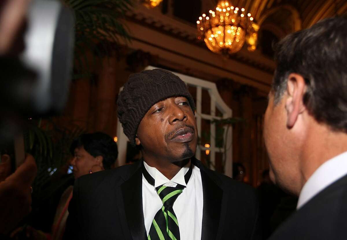 Rapper M.C. Hammer is greeted by dozens of fans at an election party at the Sheraton Place Hotel in San Francisco Tuesday November 8, 2011
