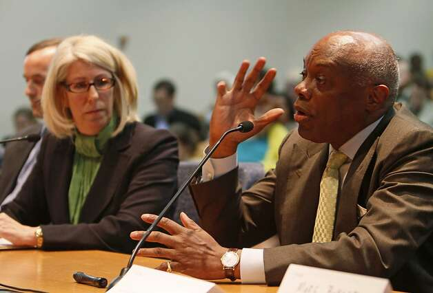 Former San Francisco Mayor Willie Brown, right, testifies against Proposition 16 as Nancy McFadden, left, a senior vice president of Pacific Gas and Electric Co. listens during a hearing of the California Public Utilities Commission in San Francisco, Wednesday, March 17, 2010. The California PUC is hearing public testimony on a June ballot initiative that would make it much harder for local governments to create or expand public power agencies. Proposition 16 would change the state constitution to require a two-thirds vote before local governments can use taxpayer funds to create or expand publicly owned utilities. The commission is holding a public meeting on it Wednesday afternoon. (AP Photo/Eric Risberg)  Ran on: 03-18-2010 Nancy McFadden of PG&E listens to former Mayor Willie Brown testify in favor of Proposition 16 at the PUC meeting.   Ran on: 03-07-2011 Nancy McFadden, a top adviser to Gov. Jerry Brown, got a $1 million severance package from PG&E. Photo: Eric Risberg, AP