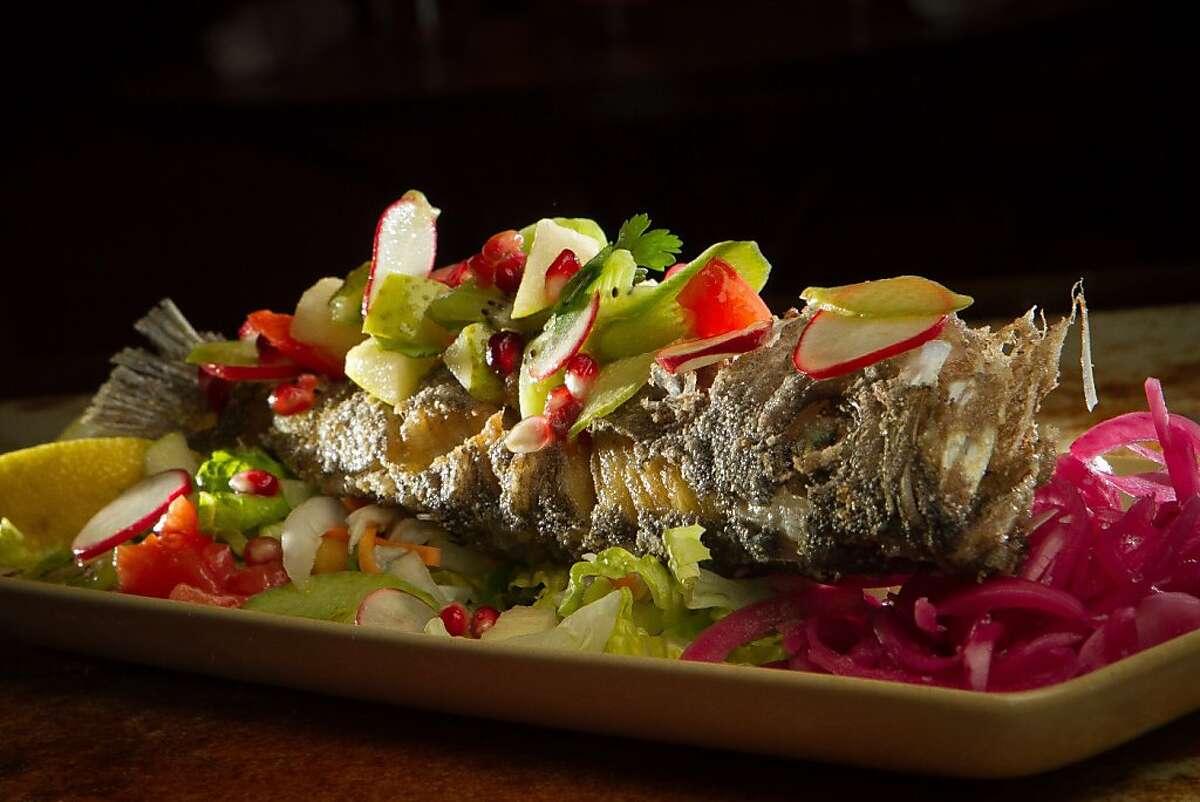 The whole fried fish at Mateo's Cocina Latina in Healdsburg, Calif., is seen on Friday, November 11, 2011.