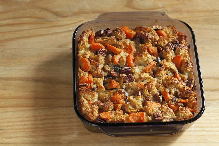 Butternut squash, mushroom bread pudding as seen in San Francisco, California, on November 1, 2011. Food styled by Lynne Bennett. Photo: Craig Lee, Special To The Chronicle