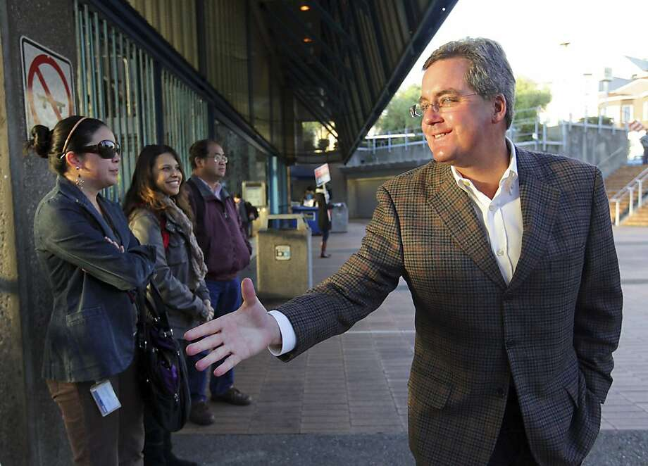 Dennis Herrera, the city attorney and a candidate for mayor, campaigns at a Bay Area Rapid Transit station in San Francisco, on Nov. 8, 2011.  A tally of early and absentee ballots suggests that ethnic Chinese are voting in unusually high numbers, which analysts said boded well for for the interim mayor, Ed Lee.(Jim Wilson/The New York Times)  Ran on: 11-13-2011 City Attorney Dennis Herrera, campaigning last week at a BART station in his unsuccessful bid for mayor, has been a critic of the Central Subway project, which Mayor Ed Lee supports. Photo: Jim Wilson, The New York Times