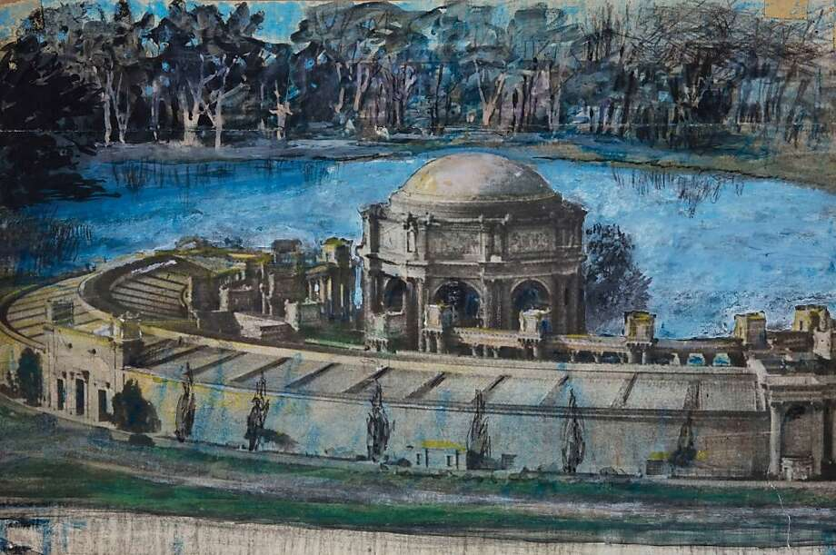"Bernard Maybeck did this tempura painting of the Palace of Fine Arts in 1914, the year before the Panama-Pacific International Exposition at which the Palace debuted.    Ran on: 11-20-2011 Tempera painting on photograph of Palace of the Fine Arts, c. 1914, from &quo;Bernard Maybeck: Architect of Elegance.&quo; Ran on: 11-20-2011 Tempera painting on photograph of Palace of the Fine Arts, c. 1914, from &quo;Bernard Maybeck: Architect of Elegance.&quo; Photo: From ""Bernard Maybeck: Architect"