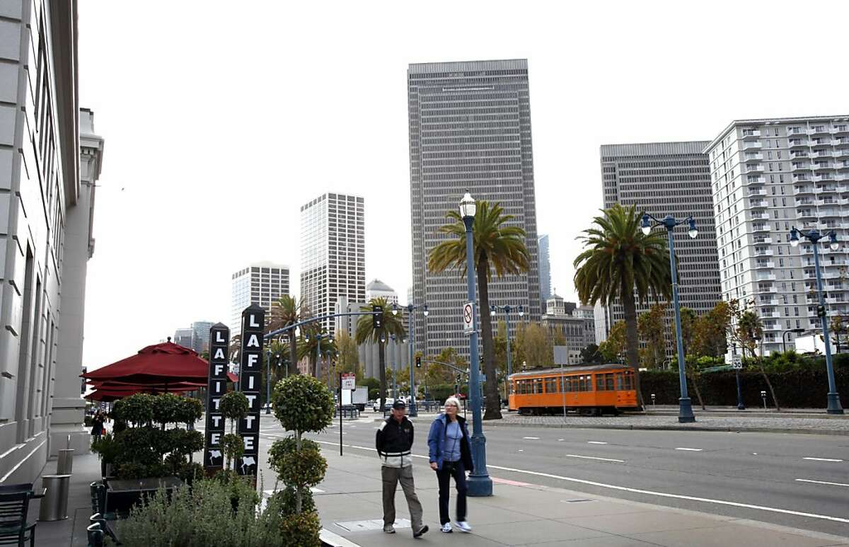 A proposed project would redevelop the area along the Embarcadero north of Washington St. in San Francisco, Calif., Friday, November 18, 2011. Right now the land is home to a parking lot, tennis club, and open space.