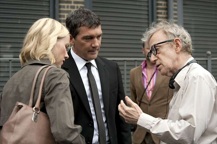 "Naomi Watts, Antonio Banderas and Woody Allen on the set of, ""You Will Meet a Tall Dark Stranger.""  PBS presents, ""American Masters: Woody Allen."" Photo: Sony Pictures"