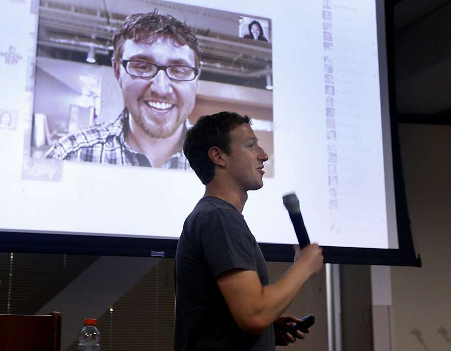 Facebook CEO Mark Zuckerberg demonstrates a new video conferencing feature on Facebook using Skype technology at the social network's headquarters on Wednesday, July 6, 2011 in Palo Alto, Calif.  Ran on: 07-07-2011 Facebook CEO Mark Zuckerberg shows the new video chat feature on Facebook with Skype technology. Photo: Paul Chinn, The Chronicle