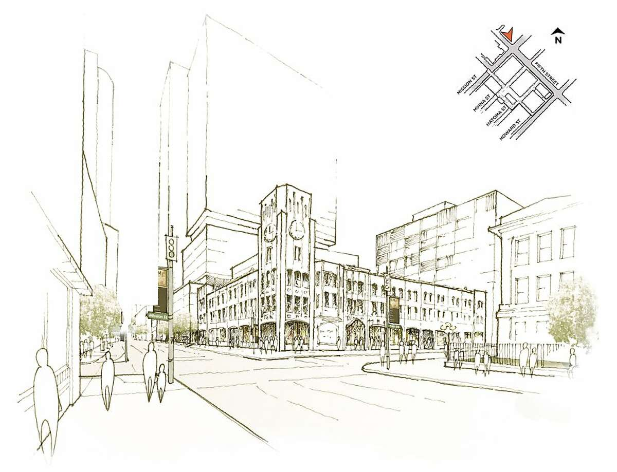 Developer Forest City reveals its plans for the redevelopment of the Hearst Corp. property at 5th and Mission streets in San Francisco. The rendering shows the proposed buildings that would be built around the Chronicle building.