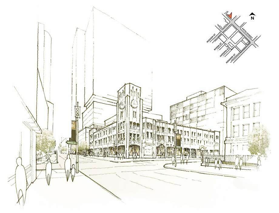 Developer Forest City reveals its plans for the redevelopment of the Hearst Corp. property at 5th and Mission streets in San Francisco. The rendering shows the proposed buildings that would be built around the Chronicle building. Photo: Forest City