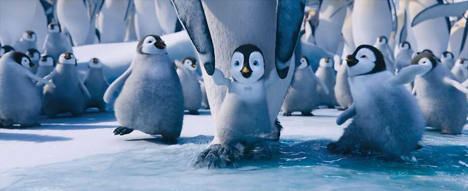 (L-r) Atticus, voiced by BENJAMIN ÒLIL P-NUTÓ FLORES JR.; Erik, voiced by AVA ACRES; and Bo, voiced by MEIBH CAMPBELL, in Warner Bros. PicturesÕ and Village Roadshow PicturesÕ animated family comedy adventure ÒHAPPY FEET TWO,Ó a Warner Bros. Pictures release. Photo: Courtesy Of Warner Bros. Picture