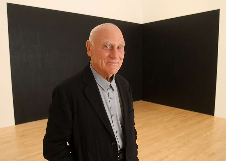 "Artist Richard Serra stands in front of ""Pacific Judson Murphy"" (1978) one his many pieces on display in a retrospective show of drawings at the Modern Musuem of Art. Photo: Mathew Sumner, Special To The Chronicle"
