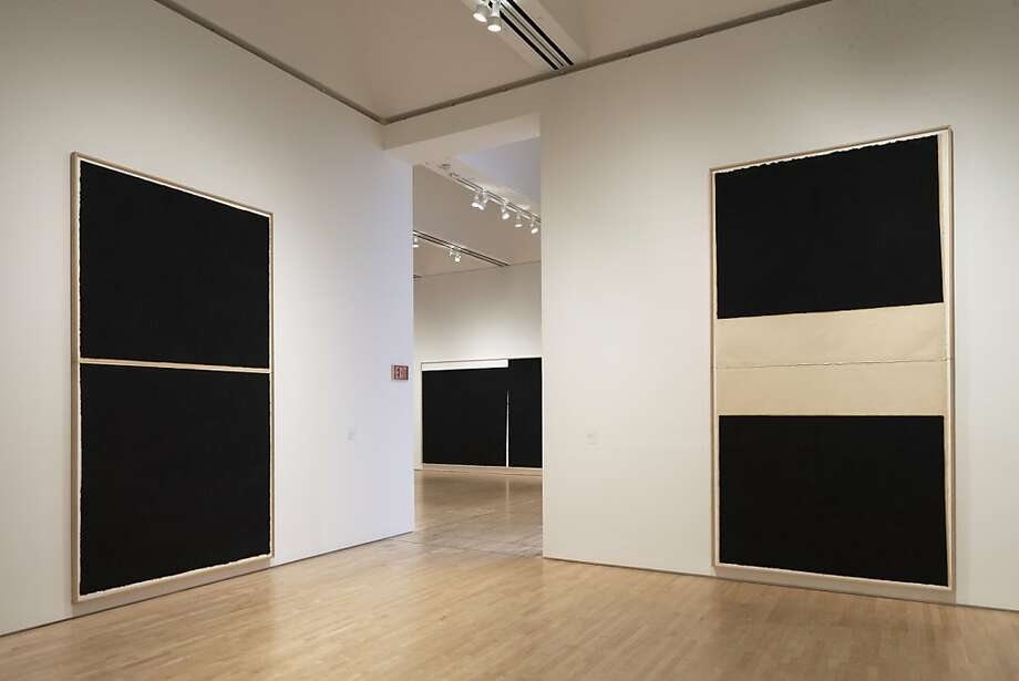 "Foreground left: ""Weight and Measure IX"" (1994) paintstick on Hiromi paper by Richard Serra and right: ""Weight and Measure III"" (1994) painstick on Hiromi paper by Richard Serra Photo: Ian Reeves, S. F. Museum Of Modern Art"