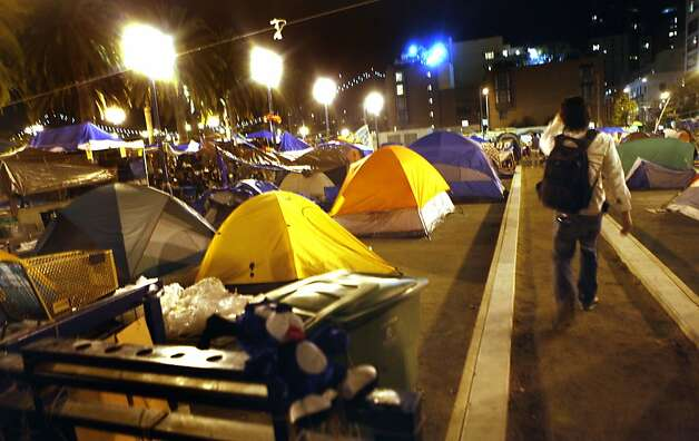 The Occupy San Francisco camp at Justin Herman Plaza has grown in recents days Tuesday night November 15, 2011. Photo: Lance Iversen, The Chronicle