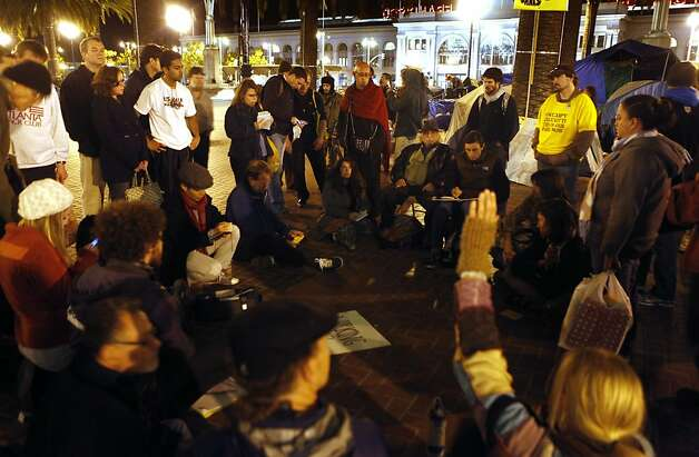 Occupy protestors held a camp meeting Tuesday night November 15, 2011 at Justin Herman Plaza. Photo: Lance Iversen, The Chronicle