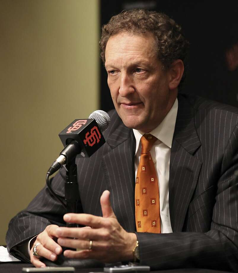 San Francisco Giants president Larry Baer gestures during a baseball news conference Thursday, Sept. 15, 2011, in San Francisco. Baer will succeed Giants CEO Bill Neukom, when Neukom retires at the end of the yrar.. (AP Photo/Ben Margot)  Ran on: 09-18-2011 Larry Baer soon will become the Giants' CEO. Ran on: 09-30-2011 Larry Baer Ran on: 09-30-2011 Larry Baer Photo: Ben Margot, AP