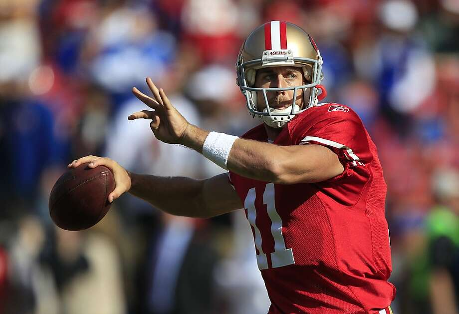 San Francisco 49ers quarterback Alex Smith (11) warms up before an NFL football game against the New York Giants in San Francisco, Sunday, Nov. 13, 2011. (AP Photo/Marcio Jose Sanchez) Photo: Marcio Jose Sanchez, AP