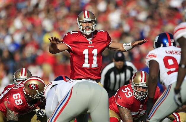 San Francisco 49ers quarterback Alex Smith (11) signals from the line of scrimmage in the second quarter of an NFL football game against the New York Giants in San Francisco, Sunday, Nov. 13, 2011. (AP Photo/Marcio Jose Sanchez) Photo: Marcio Jose Sanchez, AP