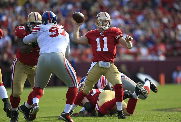San Francisco 49ers quarterback Alex Smith (11) passes against the New York Giants in an NFL football game in San Francisco, Sunday, Nov. 13, 2011. (AP Photo/Marcio Jose Sanchez) Photo: Marcio Jose Sanchez, AP