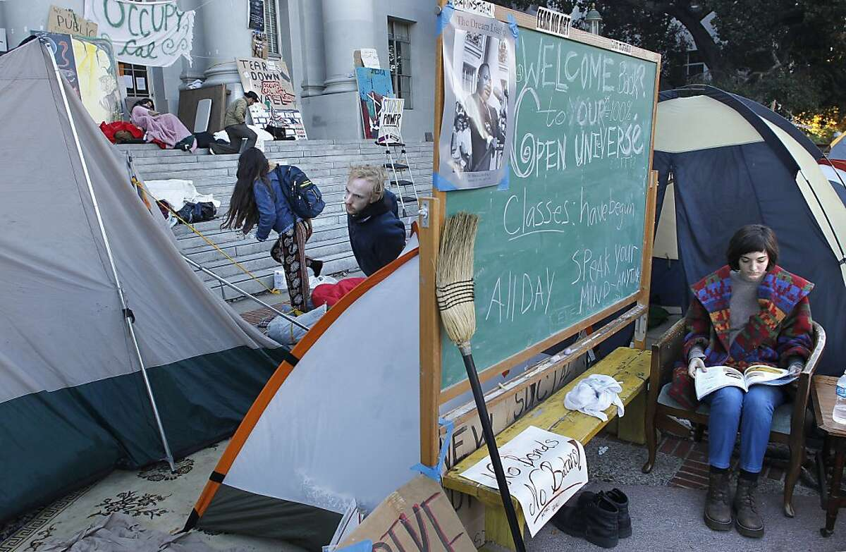 UC Berkeley student, Ali Slayle, (right) a member of the Occupy Cal encampment, which continues to grow in front of Sproul Hall on the UC Berkeley campus, on Wednesday November 16, 2011 in Berkeley, Ca.