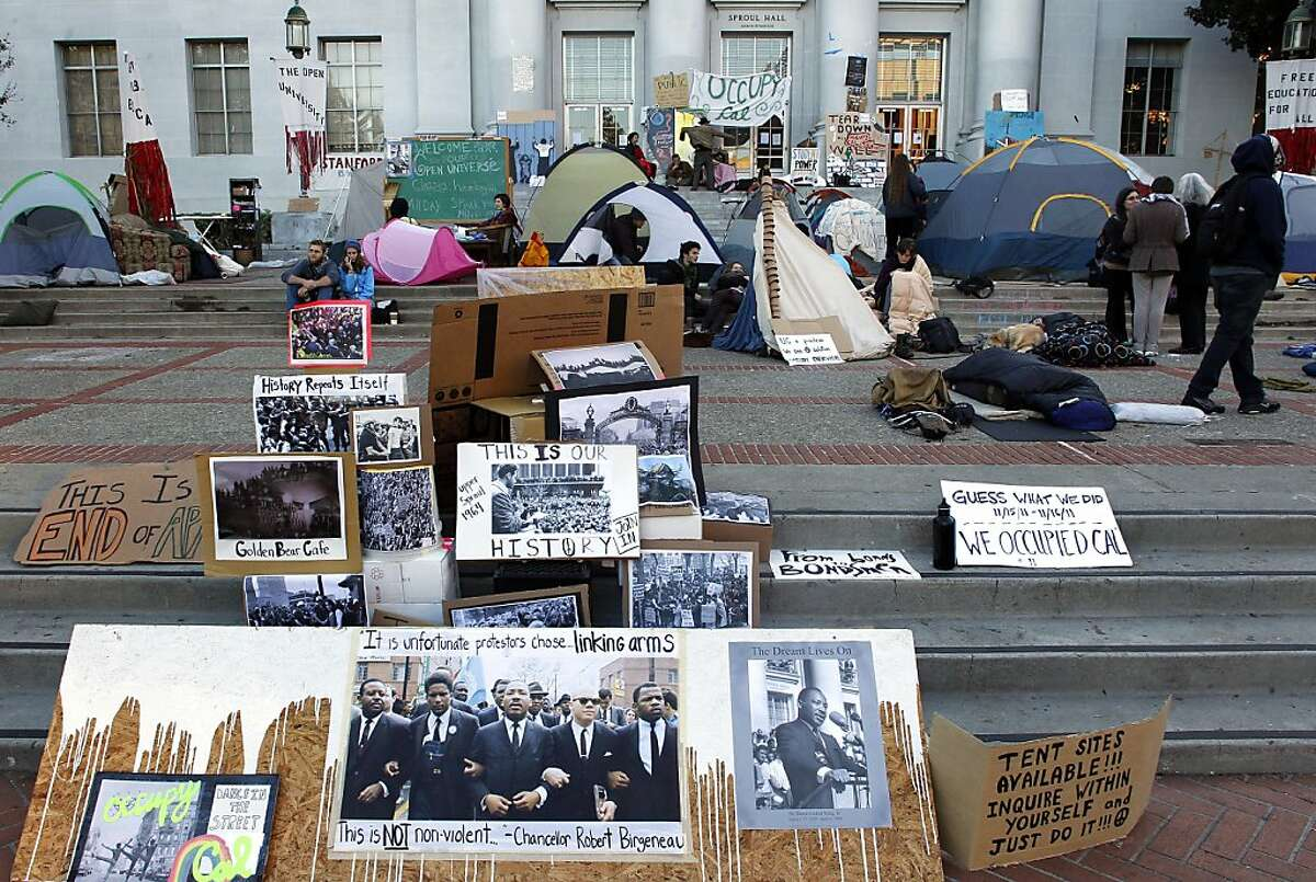 The Occupy Cal encampment continues to grow in front of Sproul Hall on the UC Berkeley campus, on Wednesday November 16, 2011 in Berkeley, Ca.