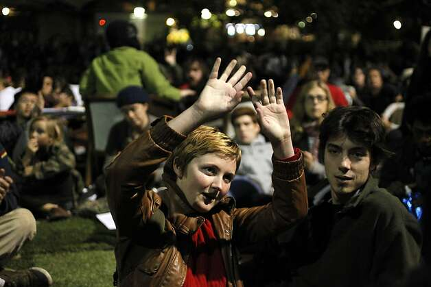 Lesley Haddock and Dan Scott UC Berkeley students join Occupy Cal, on Tuesday November 15, 2011 in Berkeley, Ca., as they gathered for a general assembly and rally this evening, in front of Sproul Hall on the  UC Berkeley campus. Photo: Michael Macor, The Chronicle