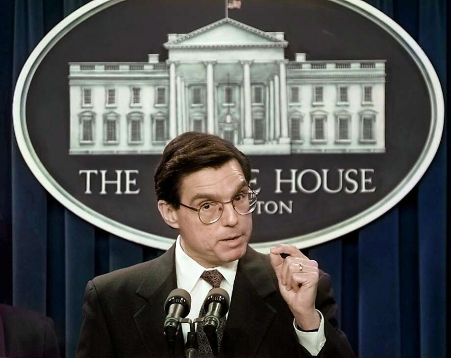 Energy Secretary Federico Pena gestures during a news conference in the White House briefing room Friday, March 28, 1997, to announce that the Clinton administration will take steps to protect from mistreatment those who participate in secret, government-sponsored experiments and assure they are fully informed of the risks. (AP Photo/Ron Edmonds)  Ran on: 11-16-2011 Federico Pena, who led the transportation and energy departments, is joining Wells Fargo. Photo: Ron Edmonds, AP