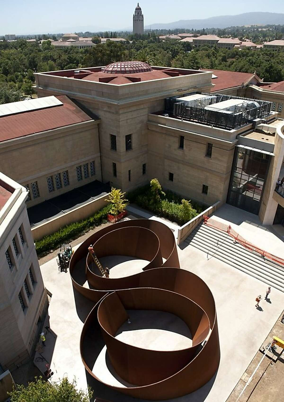aerial view of Richard Serra's 2006 weathering steel sculpture