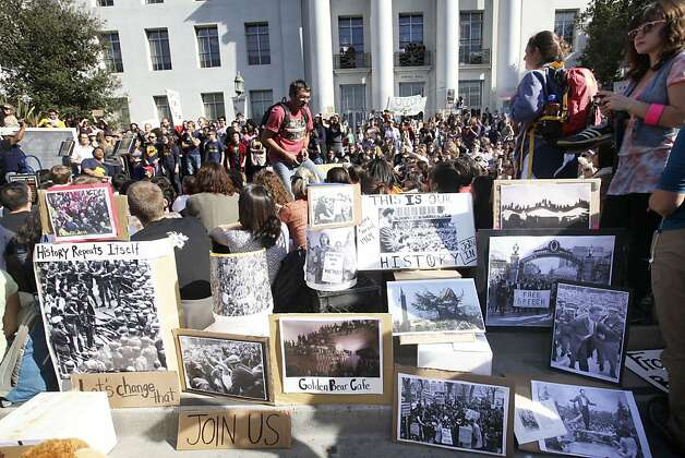 Over a thousand people join in on a statewide student strike at Sproul Plaza at UC Berkeley, Tuesday November 15, 2011 to protest the raising of tuition fee in Berkeley, Calif. Oakland Occupy is expected to join the demonstration later in the day. Photo: Lacy Atkins, The Chronicle